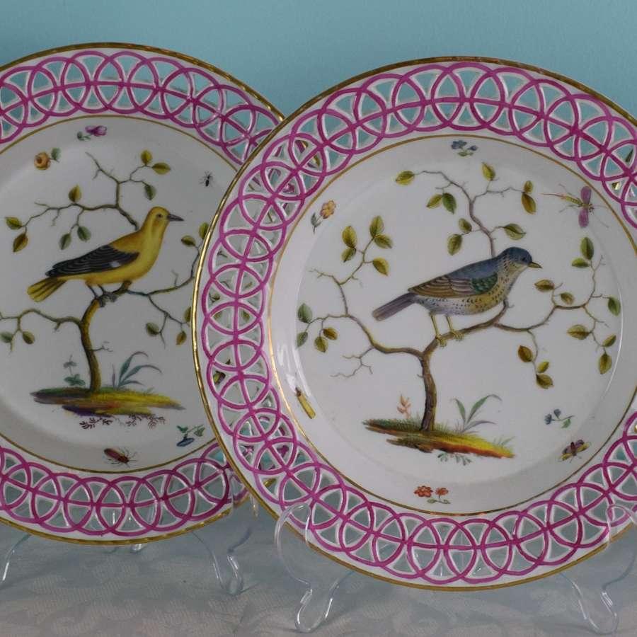 Rare Set Of 4 18th Century Limbach Ornithological Bird Dessert Plates