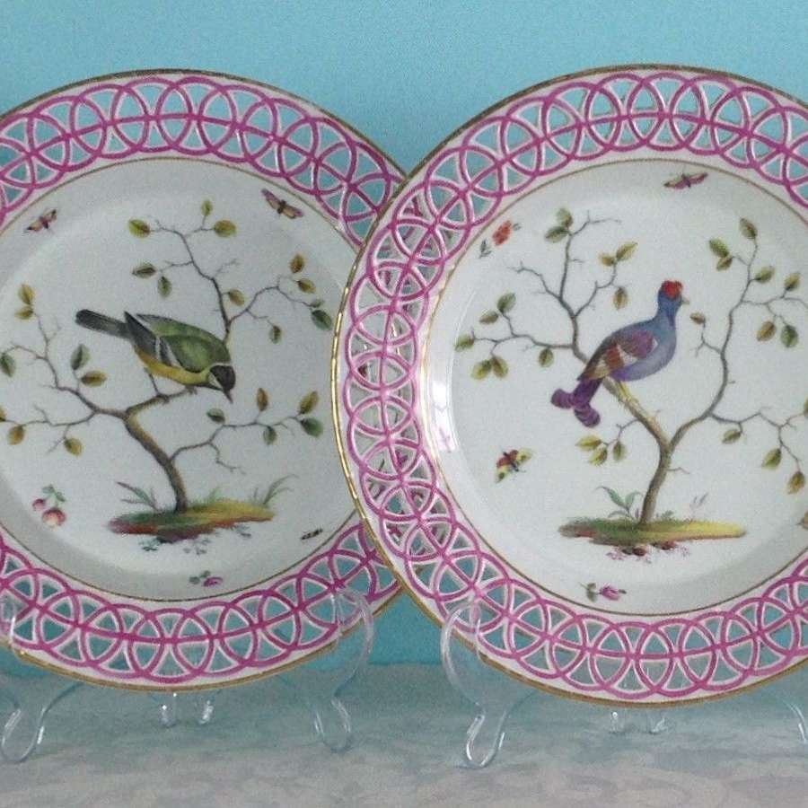 Rare Set Of 4 18th Century Limbach Ornithological Bird Dessert Plates