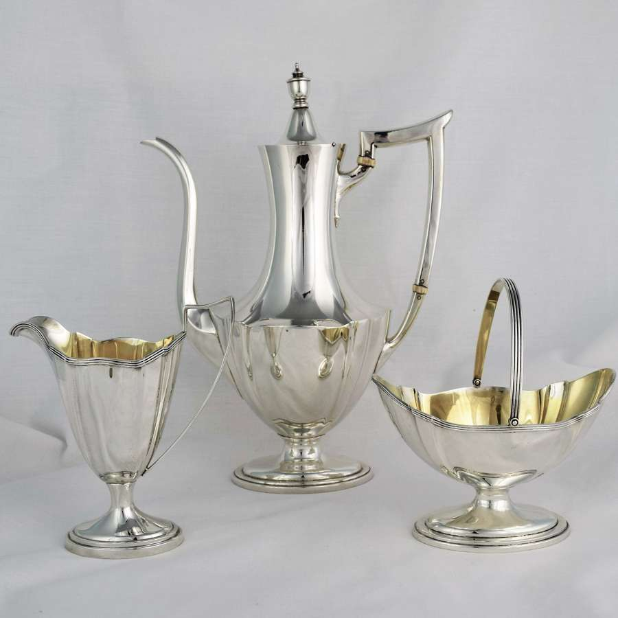 1920s Gorham Sterling Silver Plymouth Demi-Tasse Coffee Set