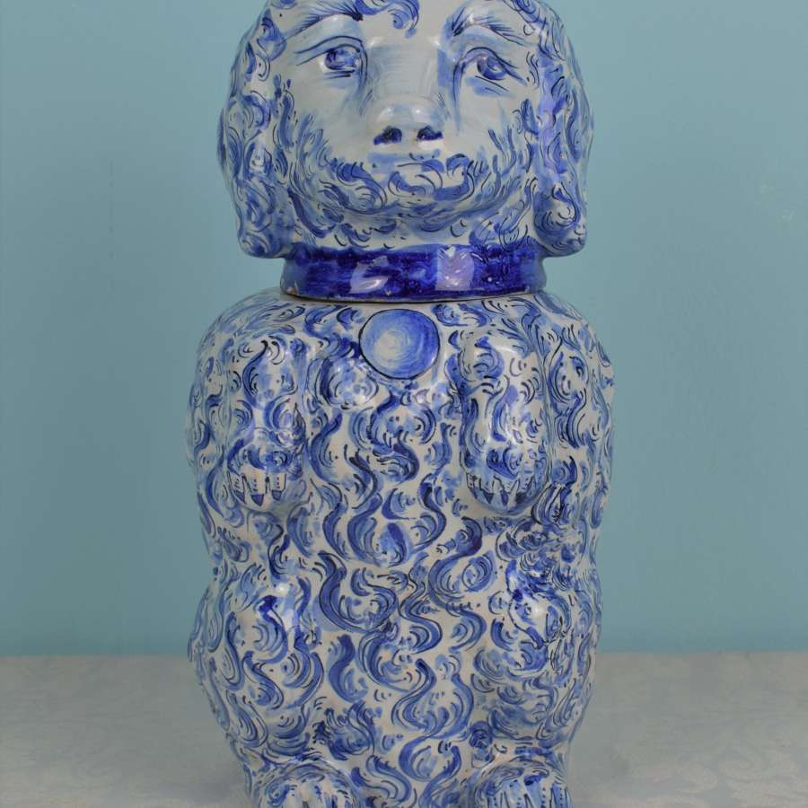 19th Century French Faience Poodle Tobacco Jar Humidor