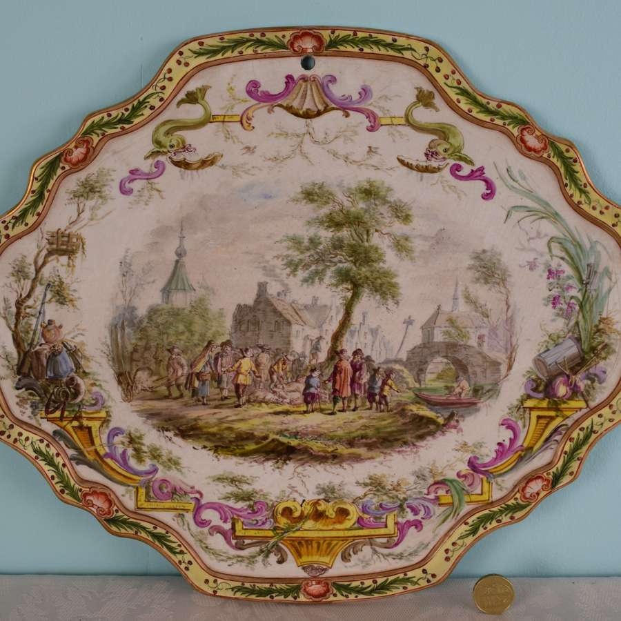 19th Century French Lille Faience Hand Painted Wall Plaque