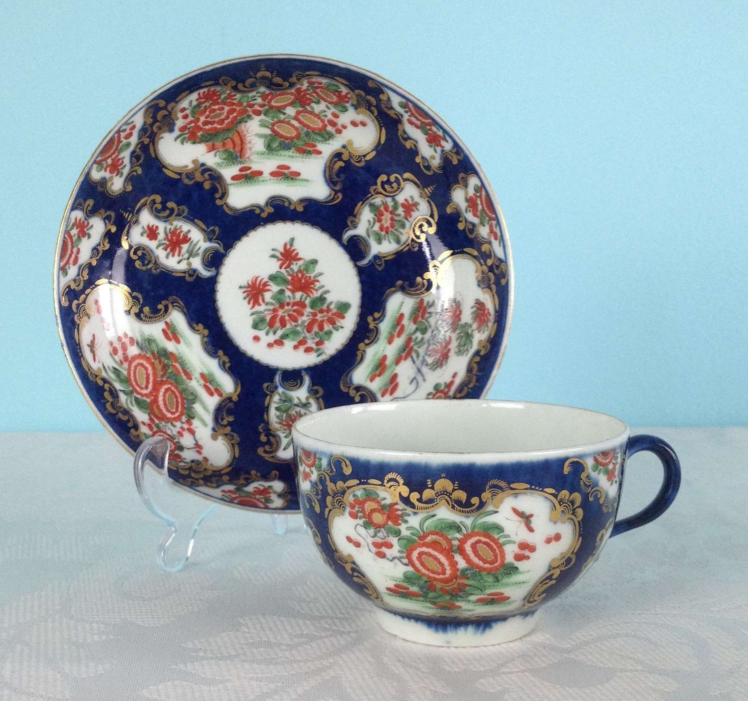 First Period Worcester Porcelain Scale Blue Cup & Saucer c.1770