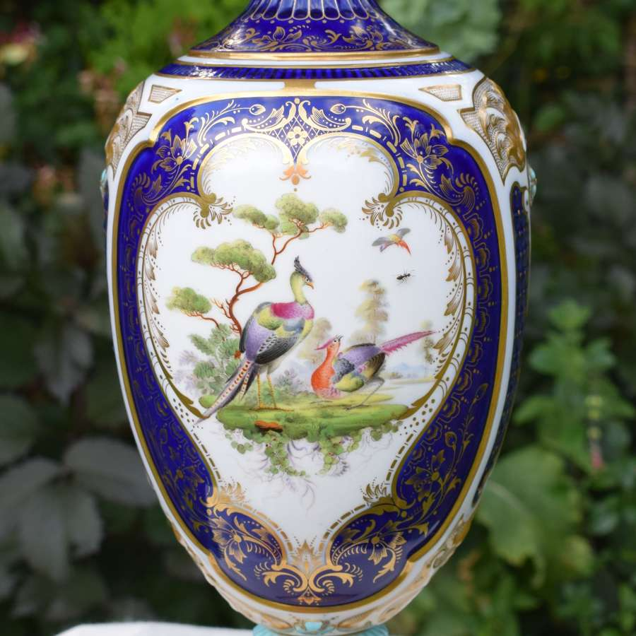 Large Victorian Royal Worcester Vase Blue Ground Asiatic Pheasants