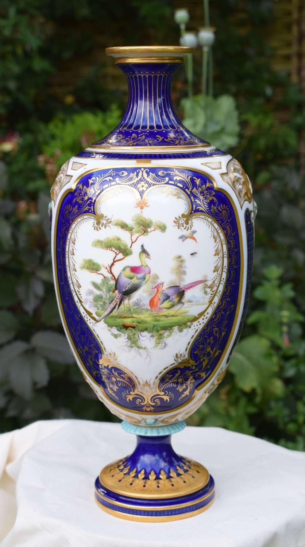 Large Victorian Royal Worcester Vase Blue Ground Asiatic Pheasants