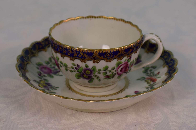 First Period Worcester Porcelain Fluted Tea Cup & Saucer Urn