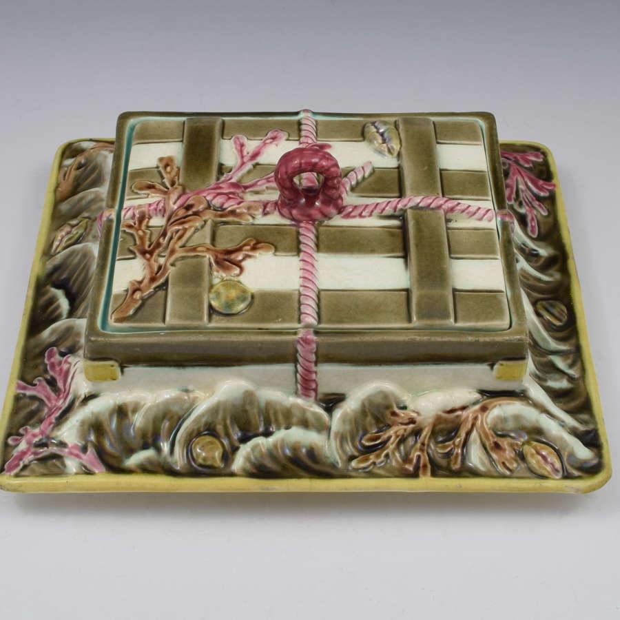 Wedgwood Argenta Majolica Sardine Box Crate In Ocean 1879