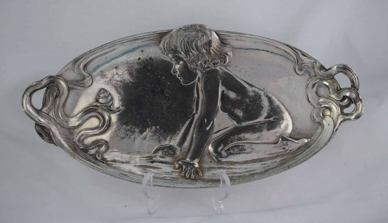 Art Nouveau WMF Silver Plated Card Tray Kneeling Child & Snail 210