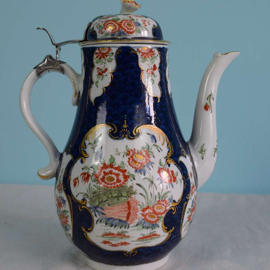 First Period Worcester Porcelain Scale Blue Coffee Pot C.1765