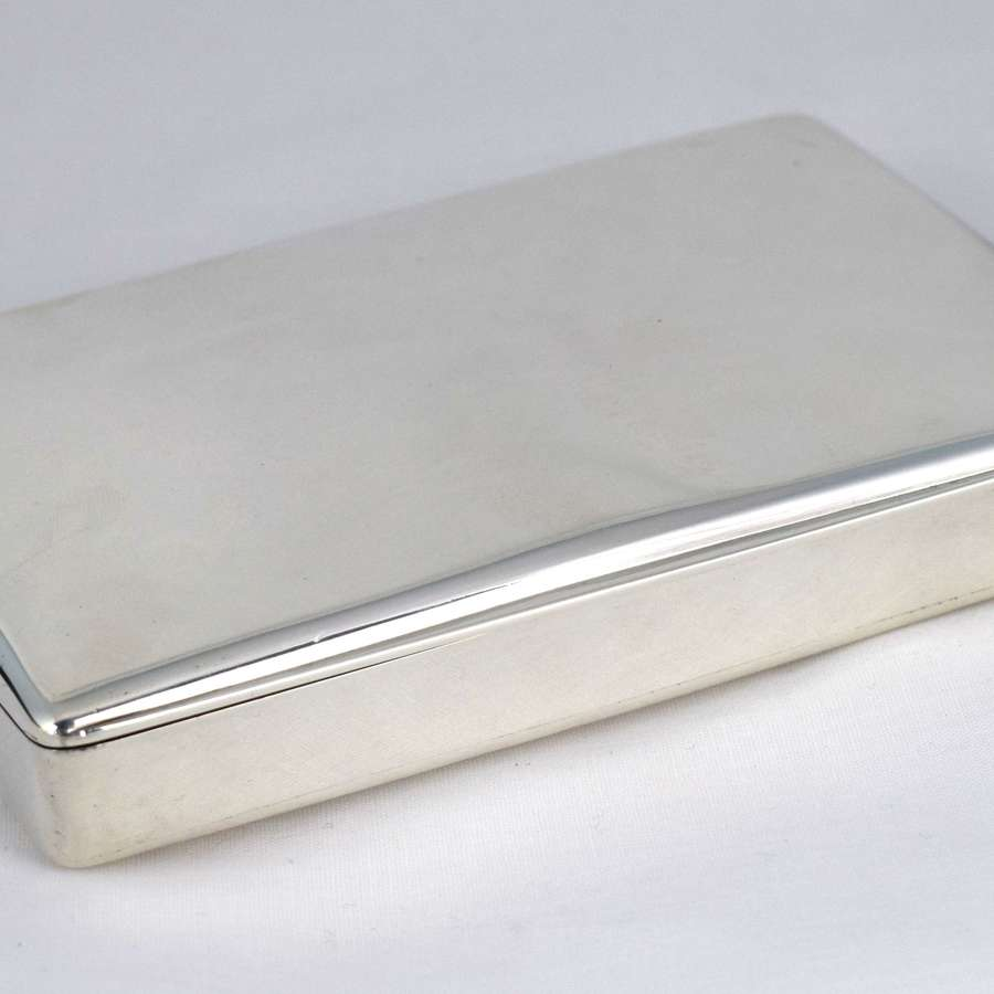 Stunning Curved Silver Cigar Box Case Victorian 1840 Thomas Diller