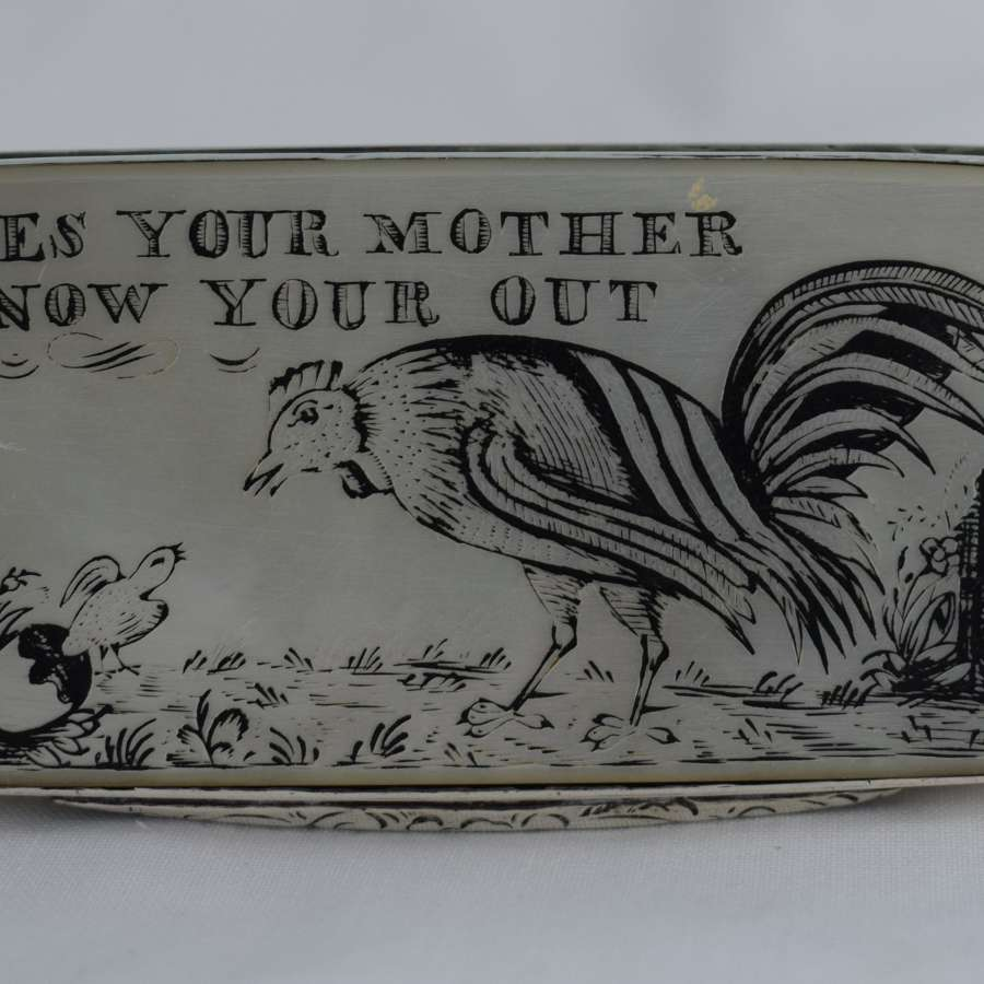 Unusual Georgian Silver Snuff Box Engraved Mother Of Pearl Panels