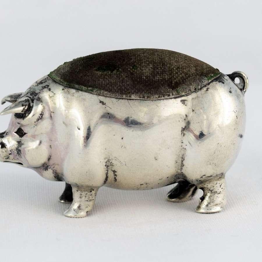 Edwardian Silver Novelty Pig Pin Cushion Levi & Salaman 1903