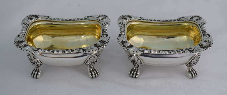 Pair Georgian Silver Open Table Salts Joseph Angell I 1816