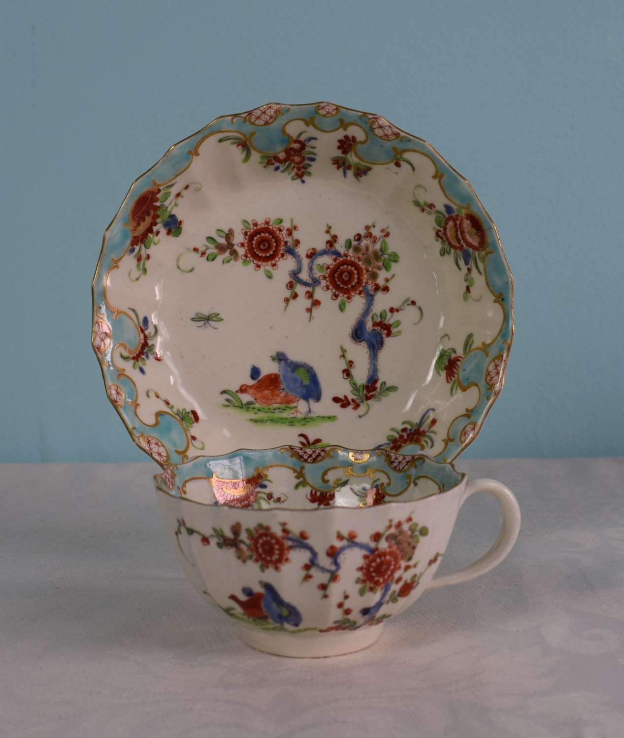 First Period Worcester 2 Quail Pattern Cup & Saucer c.1760