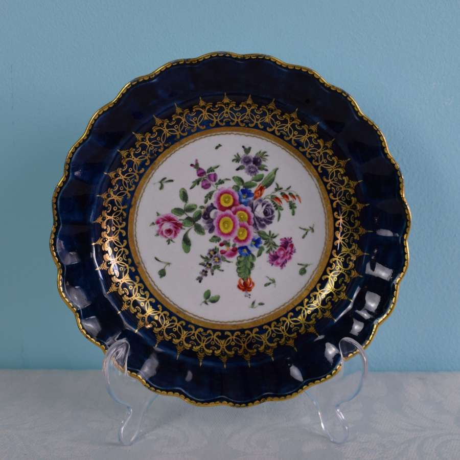 First Period Worcester Porcelain Lobed Dessert Plate
