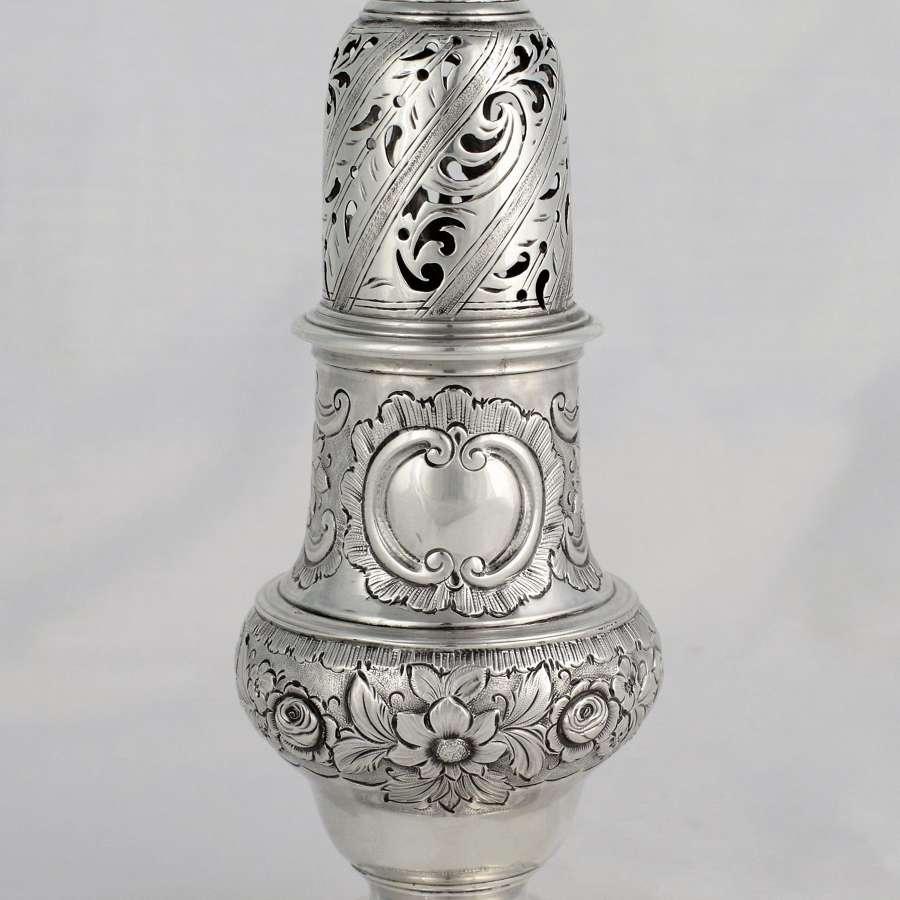 Early George III Silver Sugar Caster 1760 John Delmester