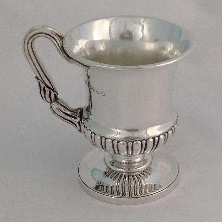 George IV Silver Pedestal Christening Cup Mug Atkins & Somersall