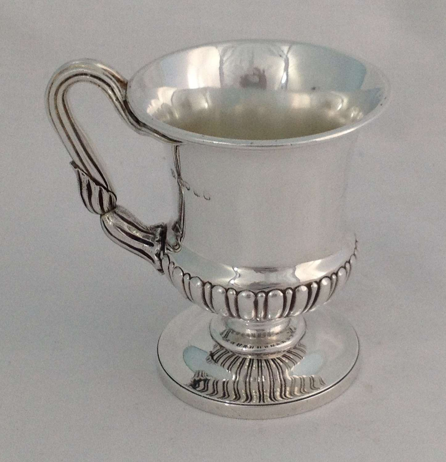 George IV Silver Pedestal Christening Cup Mug Atkins & Somersall