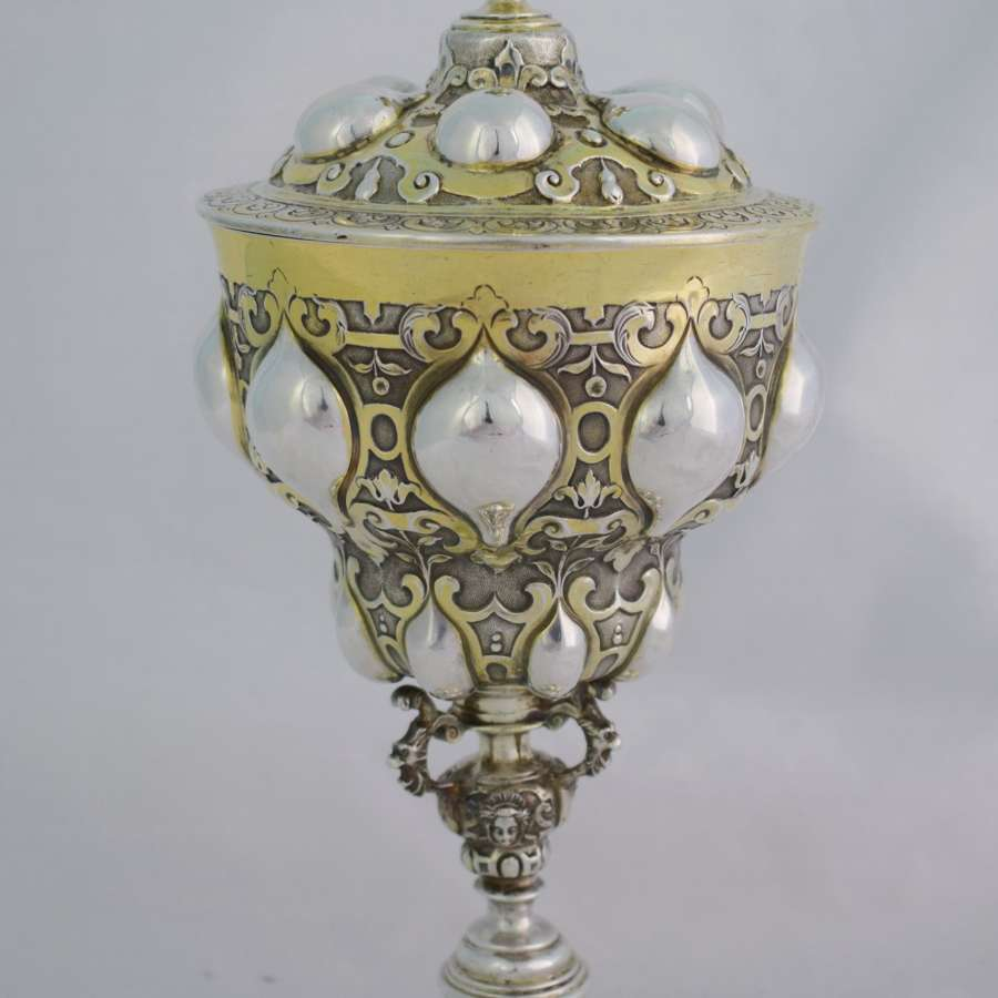 Stunning English Silver Gilt Pineapple Cup & Cover After Nuremberg