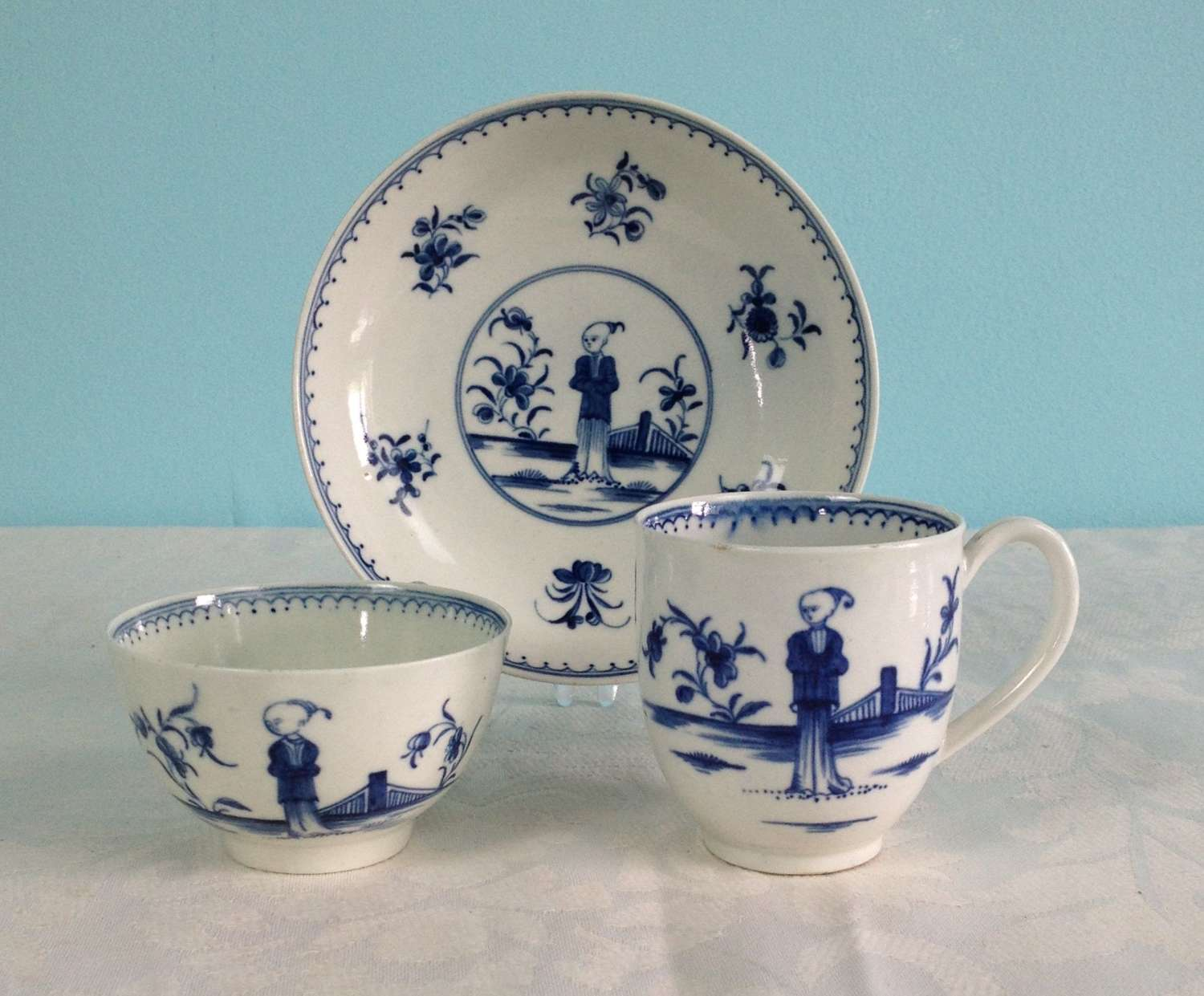 First Period Worcester Trio Waiting Chinaman C.1770