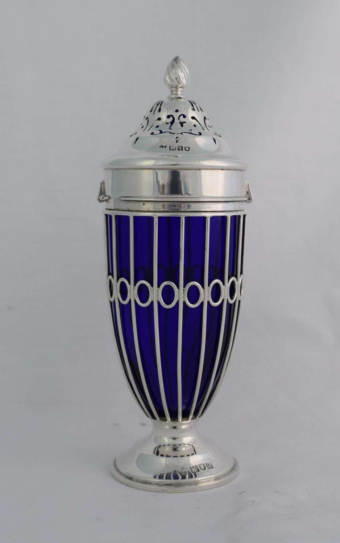 Silver & Bristol Blue Glass Sugar Caster Edward & Noble Haseler