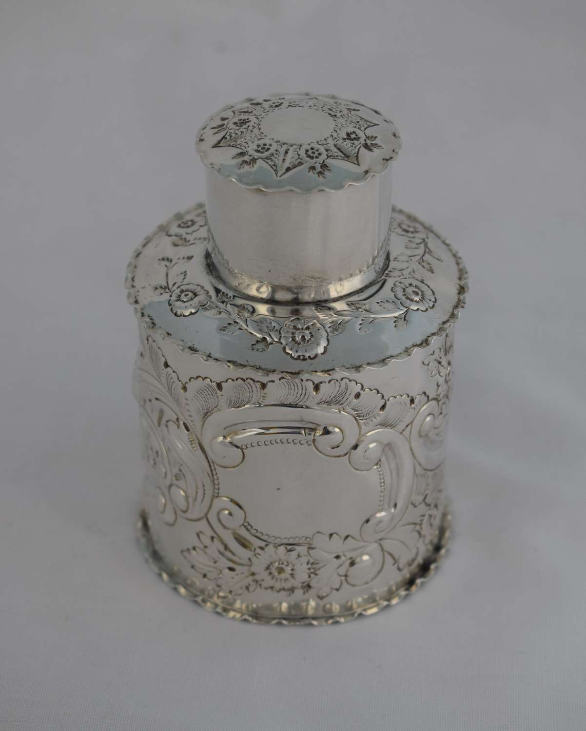 Victorian Embossed Silver Tea Caddy Canister Deakin & Francis 1899