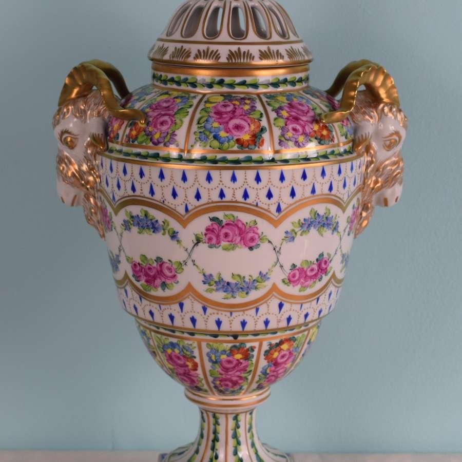 Large Carl Thieme Dresden Porcelain Pot Pourri Urn Vase