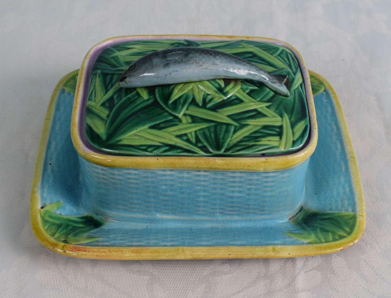 Victorian George Jones Majolica Turquoise Sardine Box & Cover