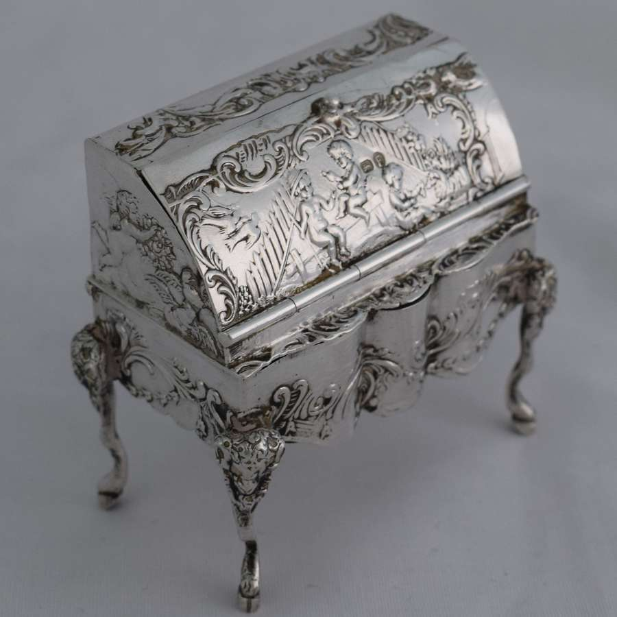 Novelty Miniature Hanau Silver Bureau Trinket Box Import Marks