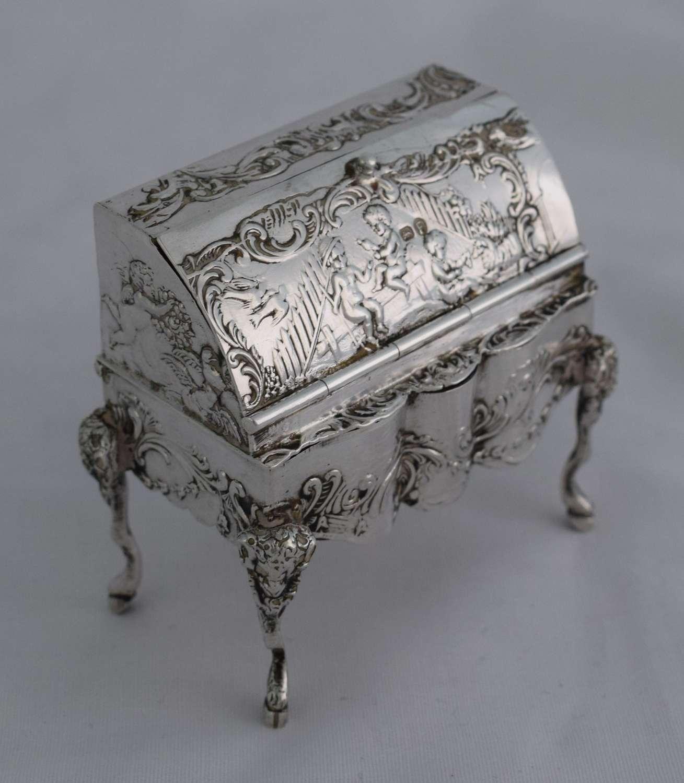 Novelty Miniature Hanau Silver Bureau Trinket Box Import Marks