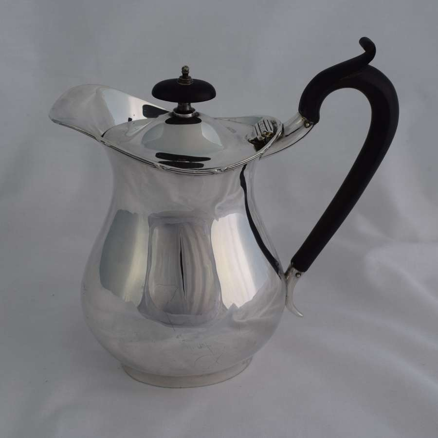 Stylish Silver & Ebony Hot Water Jug Henry Moreton 1912