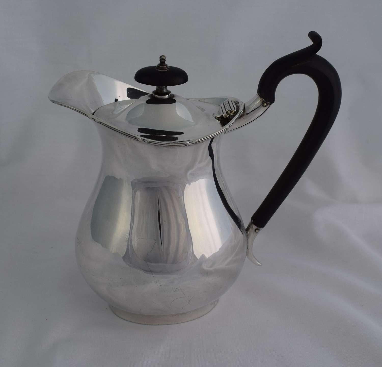 Stylish Silver & Ebony Hot Water Jug Henry Moreton 1912