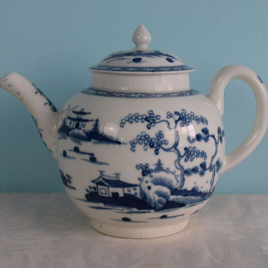 First Period Worcester Teapot & Cover Cannonball Pattern C.1765