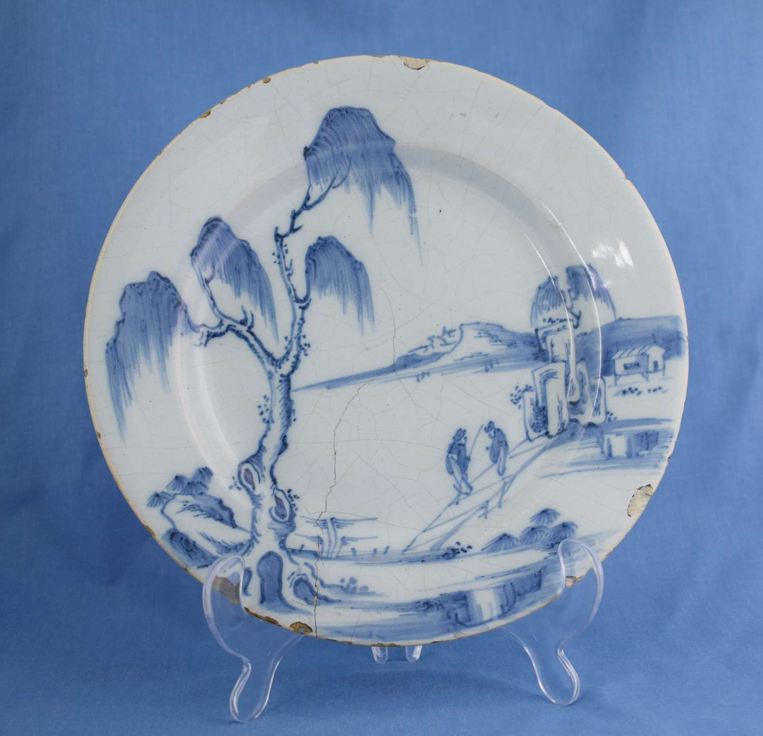 Early 18th Century Dutch Delft Plate Chinoiserie Scene