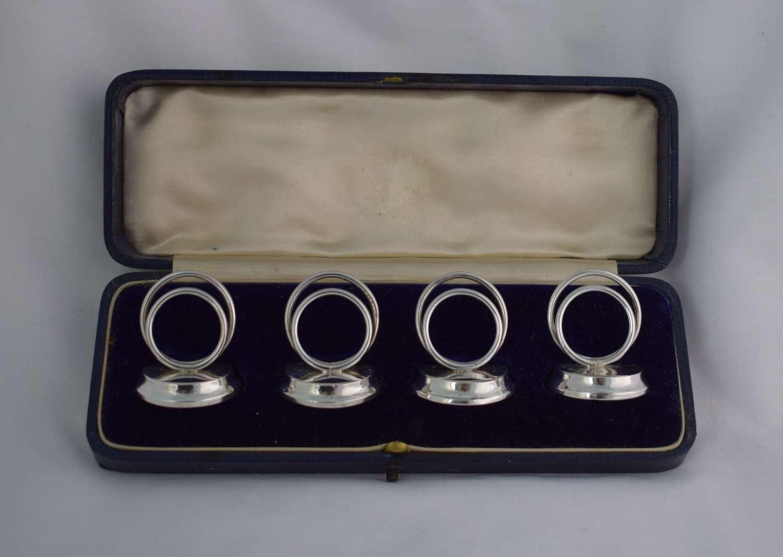 Cased Edwardian Set 4 Silver Menu Holders Sampson Mordan & Co.