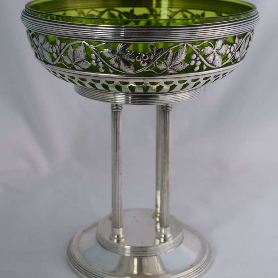 Large Art Nouveau WMF Silver Plated Centrepiece Green Glass Liner