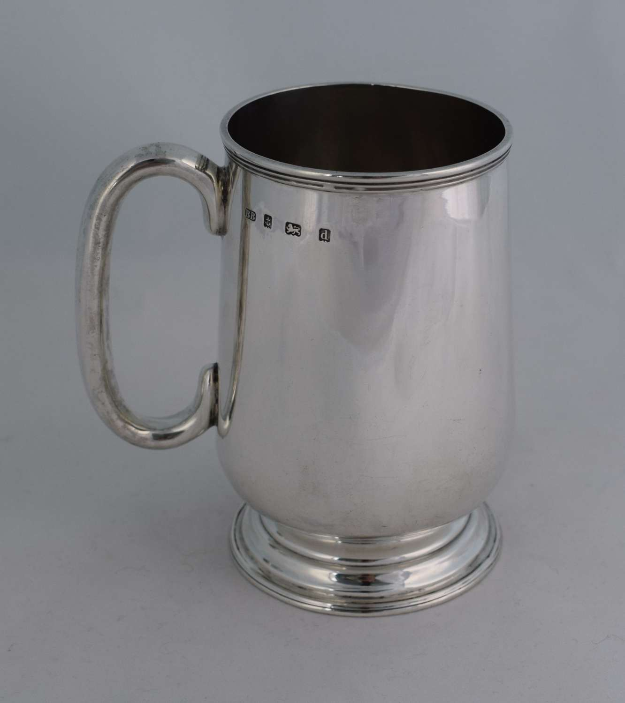 Edwardian Silver 1 Pint Beer Mug 1903 Barker Brothers