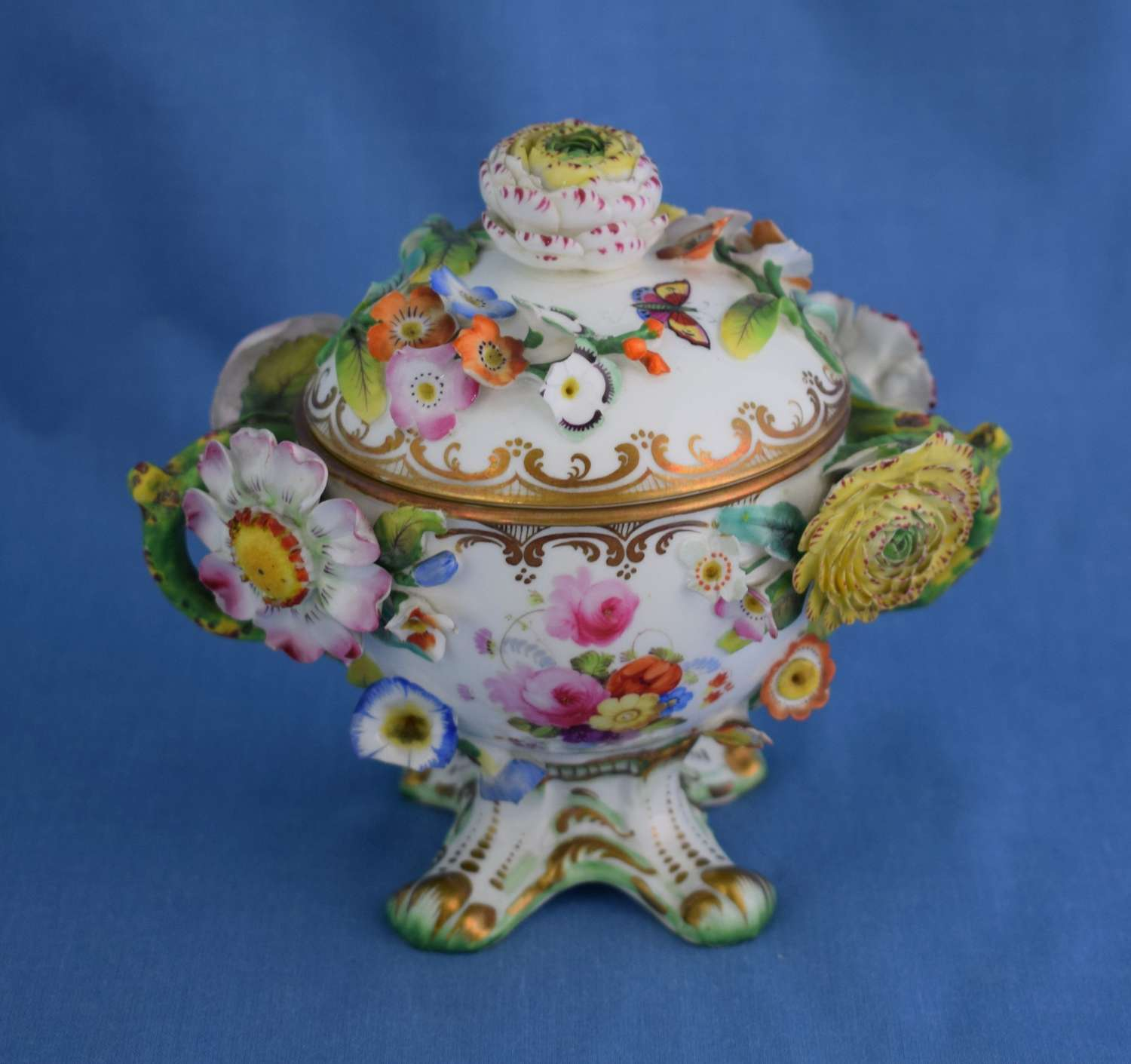 Coalport Flower Encrusted Lidded Chocolate Cup & Cover