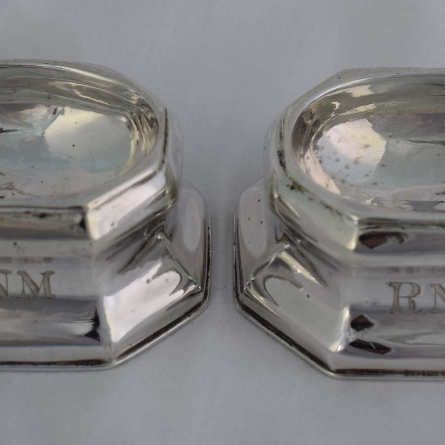 Pair George I 1719 Silver Trencher Salts Britannia Standard James Rood