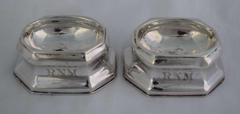 Pair George I 1719 Silver Trencher Salts Britannia Standard James Rood