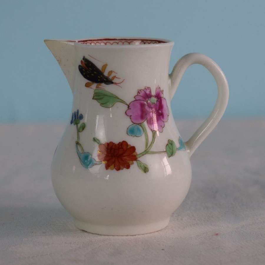 First Period Worcester Porcelain Harvest Bug Cream Jug c.1770