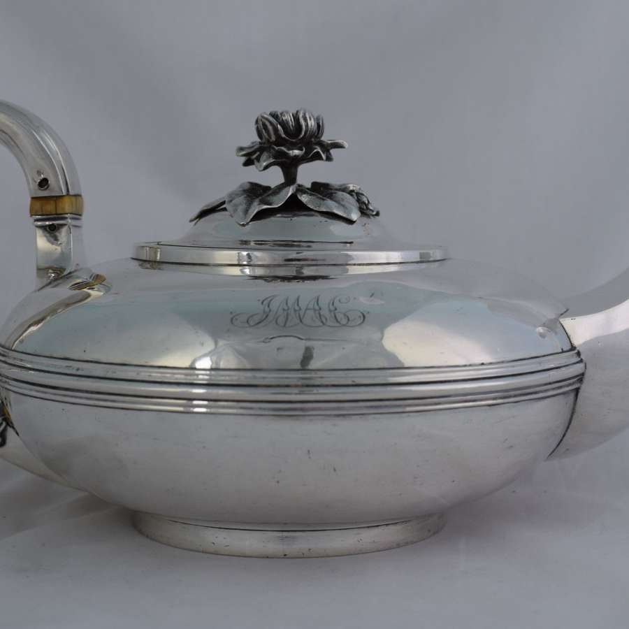 George IV Silver Moon Teapot Waterlily Finial Barnards