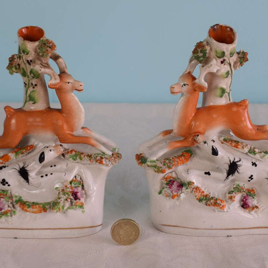Pair Victorian Staffordshire Spill Holders Stag & Hound Hunting Scene