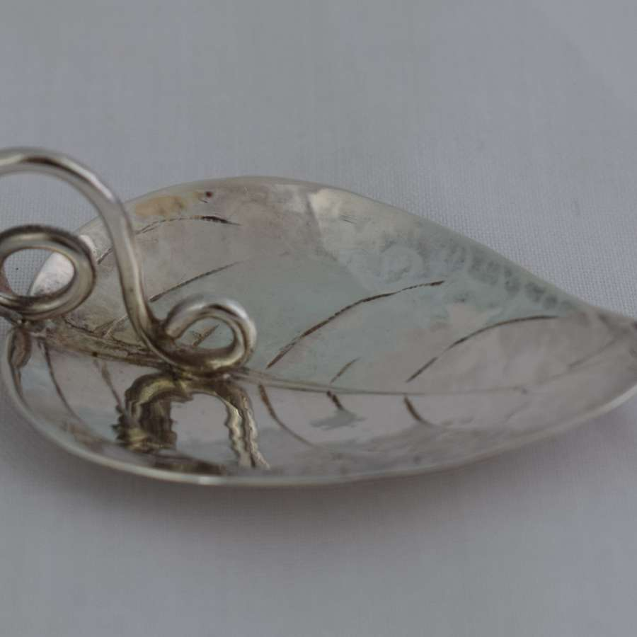 Arts & Crafts Style Charles Horner Ltd Silver Leaf Caddy Spoon