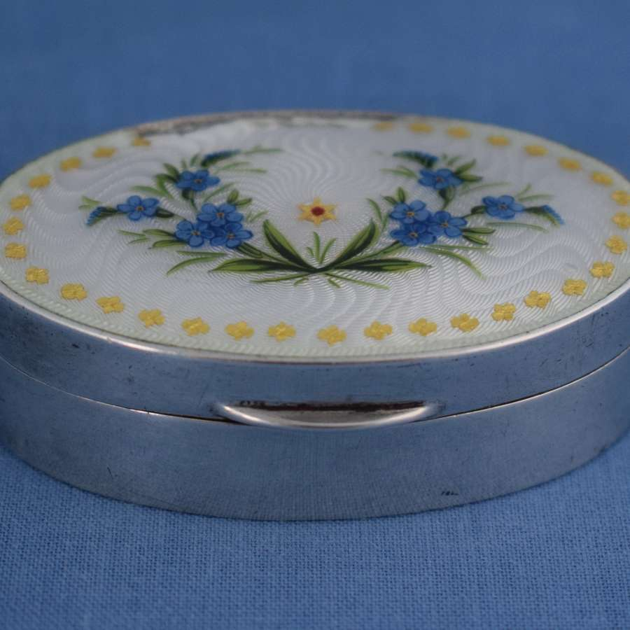 Edwardian English Silver & Guilloche Enamel Pill Box Chester 1910