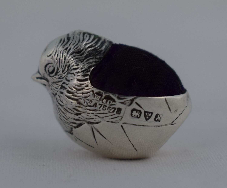 Sampson Mordan & Co. Hatching Chick Silver Pin Cushion