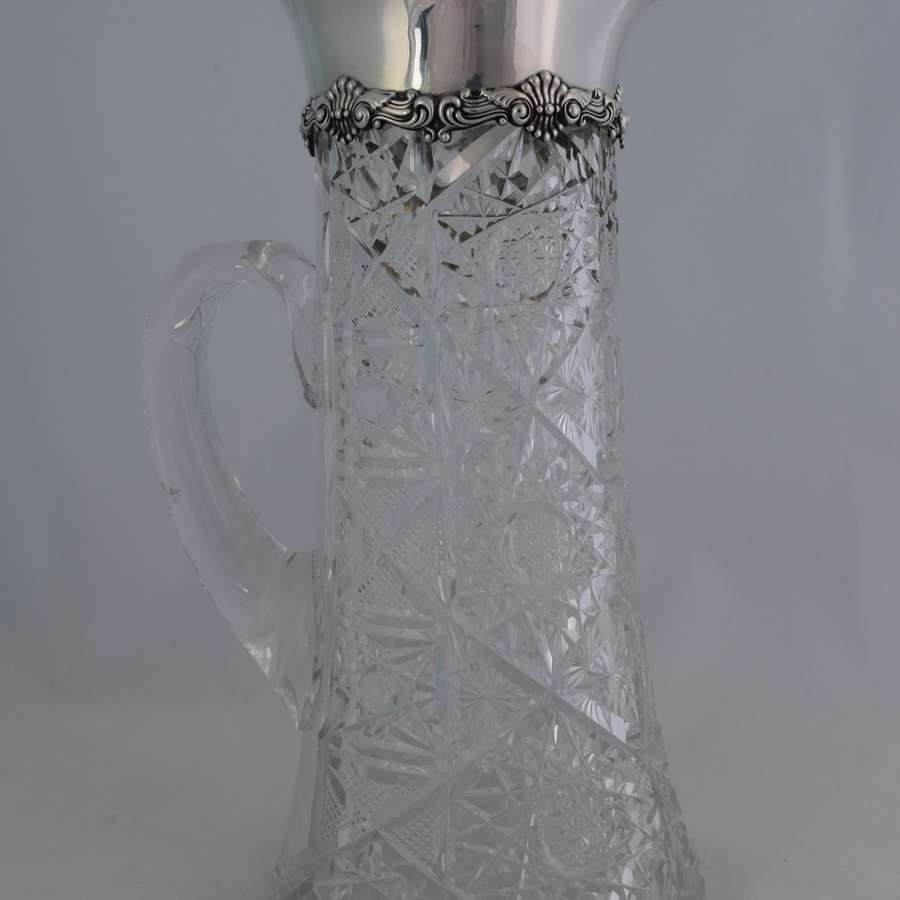 Edwardian Gorham Sterling Silver Cut Crystal Pitcher Water Jug