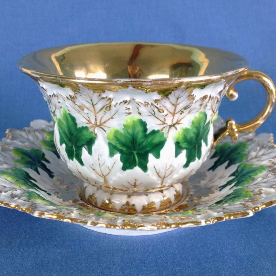 Meissen Large Cabinet Cup & Saucer Moulded Leaves C.1880