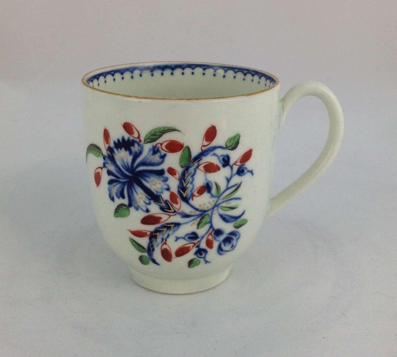 First Period Worcester Coffee Cup Underglaze Blue & Polychrome Enamel
