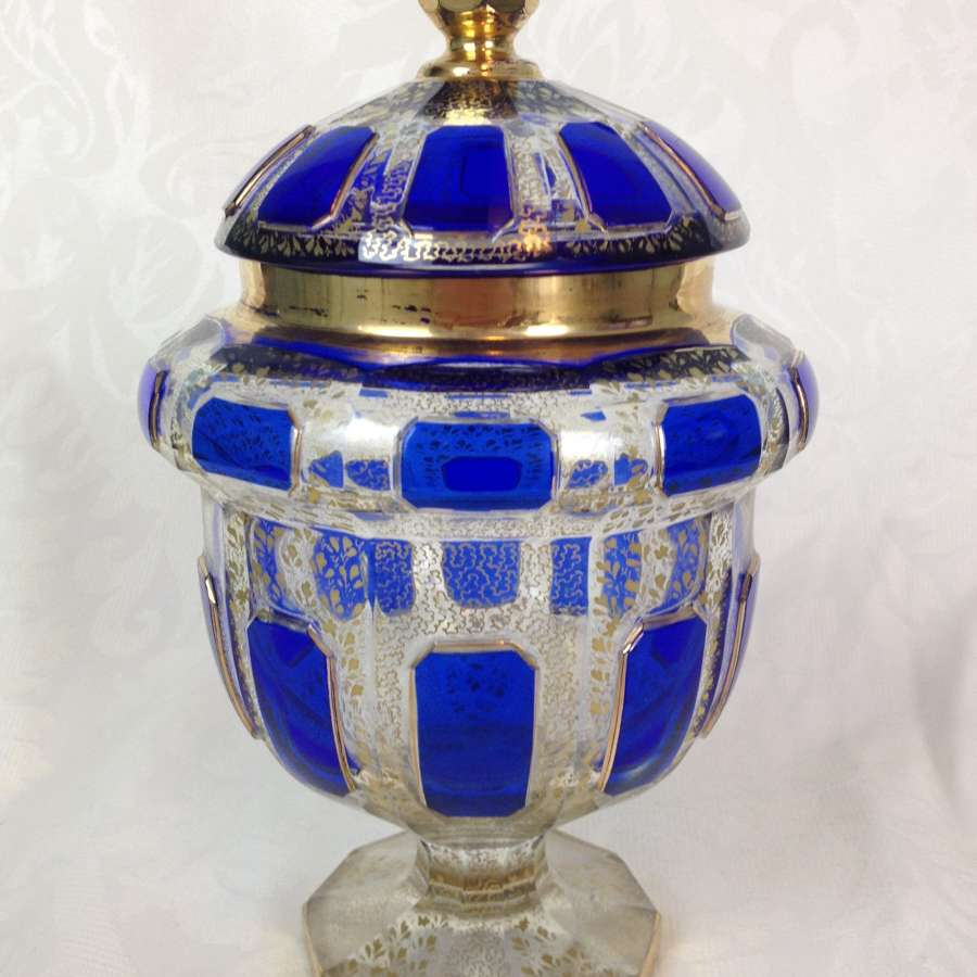 Art Deco Bohemian Blue Cabochon Overlay Lidded Vase Bonbon Dish
