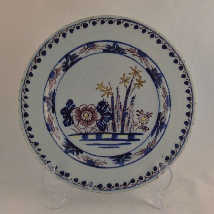 18th Century Polychrome English Manganese Delft 9